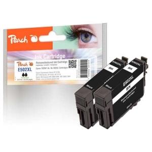 Peach  Doppelpack Tintenpatronen schwarz kompatibel zu Hersteller-ID: T02W1, No. 502XL bk Toner